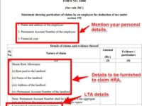 Form 12BB -Changes in declaring HRA, LTA and Sec.80 deductions