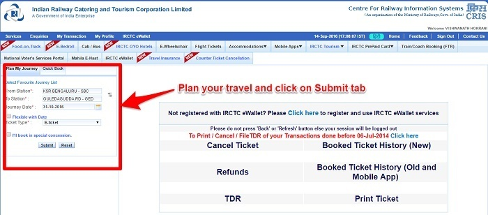 IRCTC Plan your Travel