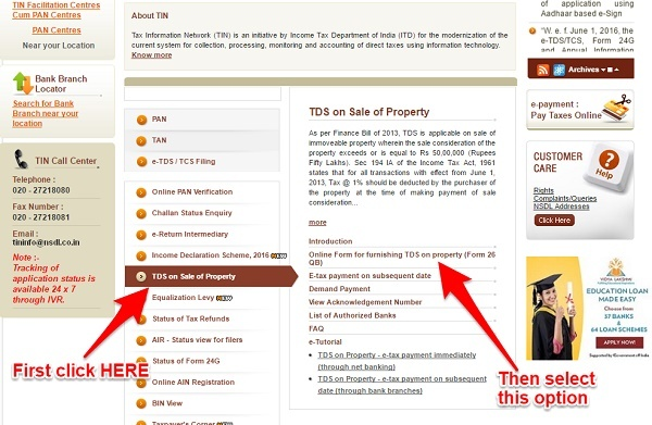 pay TDS on sale of property online