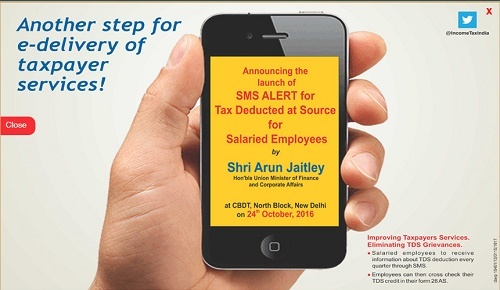 Quarterly SMS alert Service for salaried about TDS