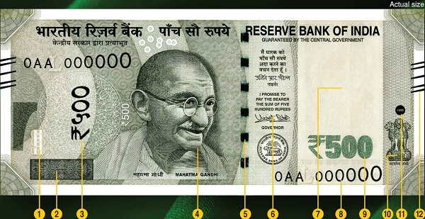 New series of Rs.500 currency note