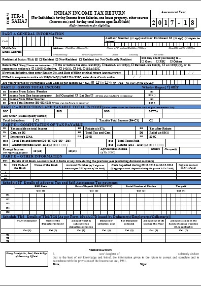 Income tax return filing form for assessment year -19