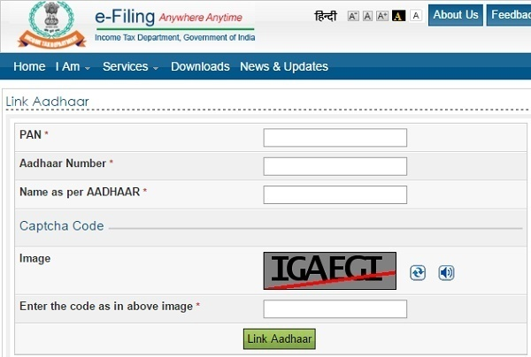 e-Filing process of linking Aadhaar with PAN