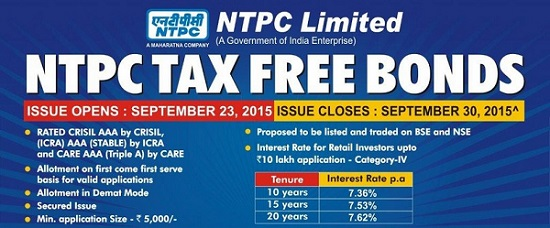 Tax Free Bonds 2015-7.62% NTPC Tax-Free Bond of September 2015