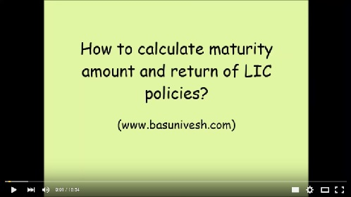 Video tutor-How to calculate LIC policies maturity amount and returns?