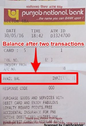 PNB ATM Receipt
