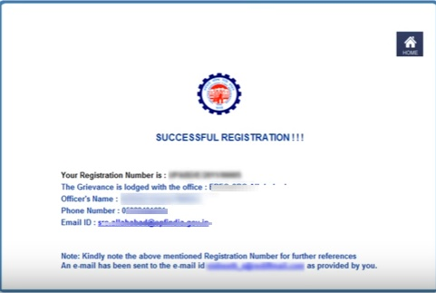 EPF Grievance Registration Success Form