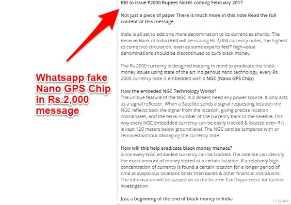 Fake Whatsapp Nano GPS Chip in Rs.2000 note message
