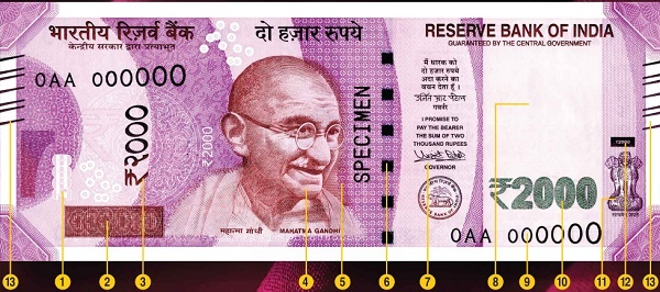 Front side of Rs.2000 currency note