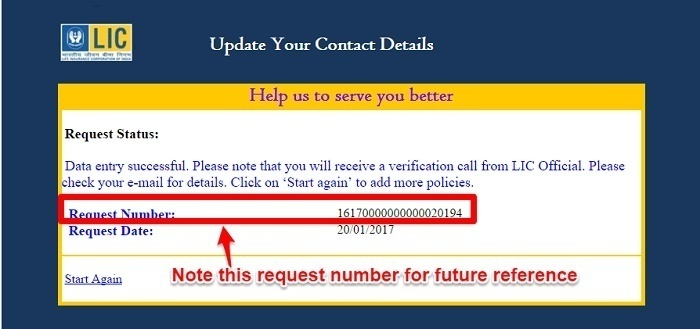 Request Number for Update Email or Mobile Number in LIC Policy online