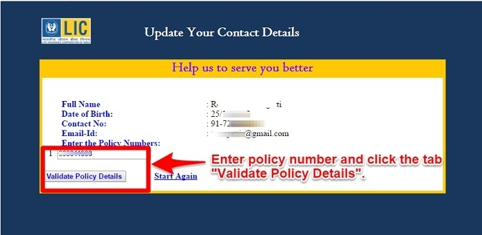 Update Contact Details and Link to LIC policies online