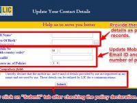 Update Contact Details in LIC Policies online