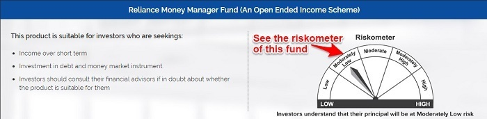 Reliance Money Manager Fund Riskometer