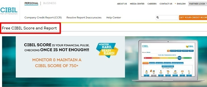 check CIBIL credit score online for free