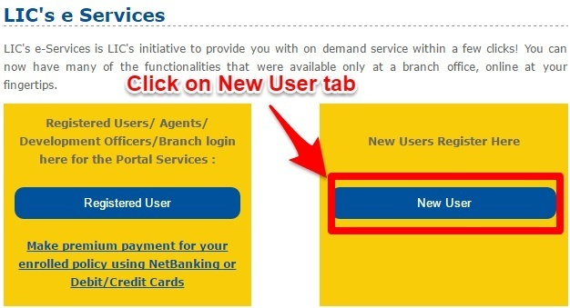 LIC New User Registration Steps
