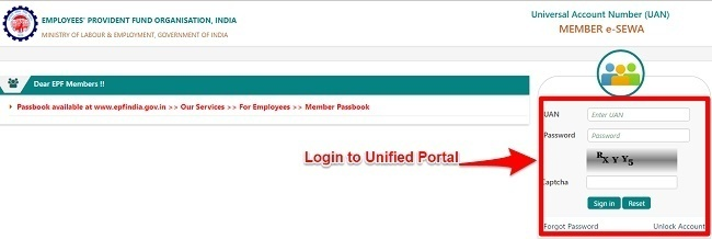 EPF Unified Portal Login