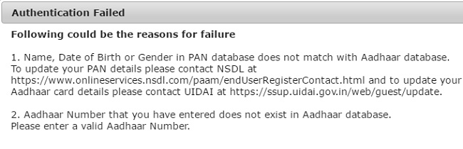 Failure to link Aadhaar with PAN