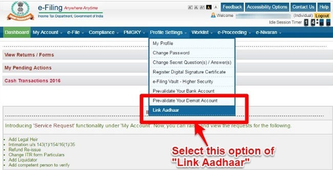 Unable to link Aadhaar with PAN