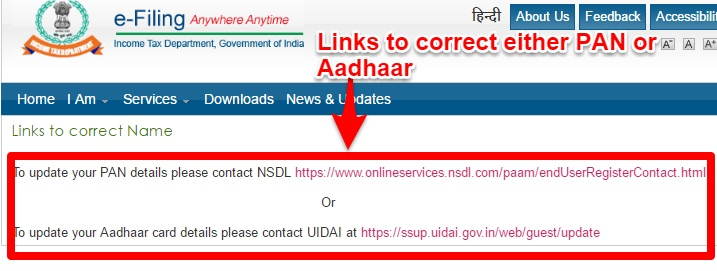 e-Filing links to correct Aadhaar or PAN