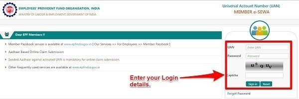 EPF Unified Portal member e-sewa login