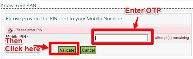 Enter OTP to check PAN Status online