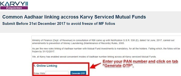 Link Aadhaar to Mutual Funds folios online Karvy