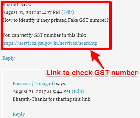 Link to verify fake GST Bill and GST number