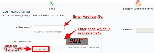 lock and unlock Aadhaar Card online