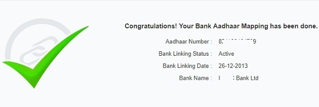 Aadhaar linking to Bank Account Status