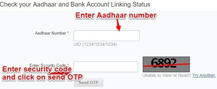 Check Aadhaar and Bank Account Linking Status