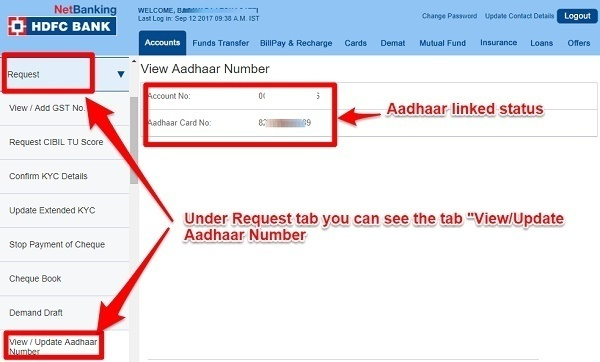 check if Aadhaar is linked to bank accounts - Internet Banking