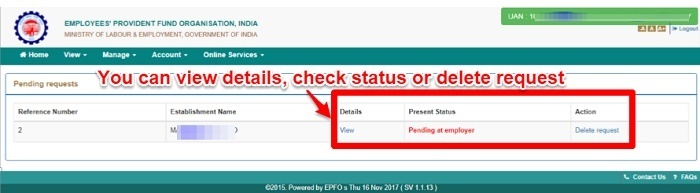 EPF UAN name, gender and date of birth correction Online status