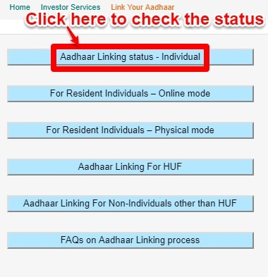check status of Aadhaar linked to Mutual Funds CAMS