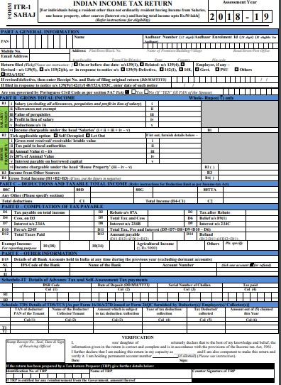 Income Tax Return Forms AY 2018-19 (FY 2017-18) ITR1