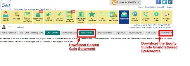 download LTCG Tax Statement of Equity Mutual Funds CAMS
