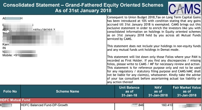 download LTCG Tax Statement of Equity Mutual Funds