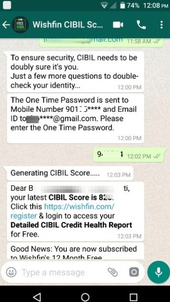 How to check free CIBIL Credit Score on WhatsApp?