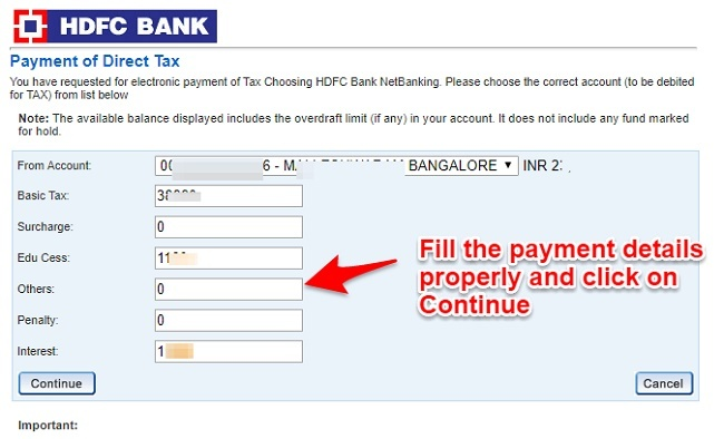 HDFC Bank income tax pay online
