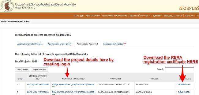 Download RERA project details online