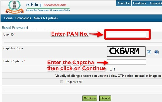 Reset e-Filing password enter password