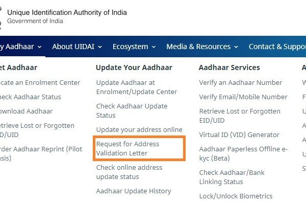 change Aadhaar address online without address proof