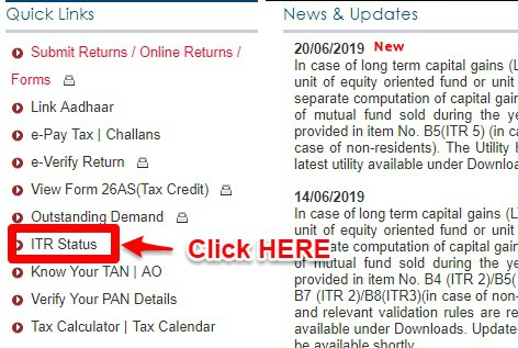Track Income Tax Refund Status AY 2019-20 Efiling without Login
