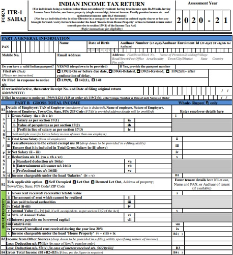 Download Income Tax Return Forms AY 2020-21