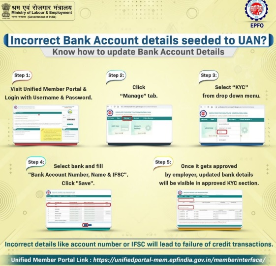 correct/update Bank details in EPF/UAN online